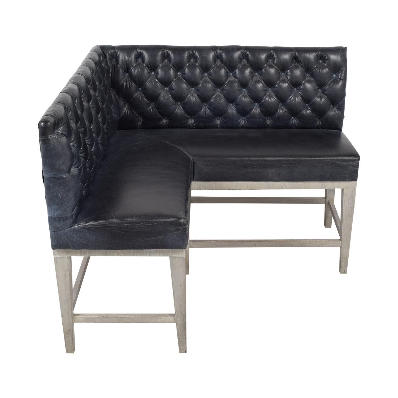 Black Tufted L-Shaped High Sofa