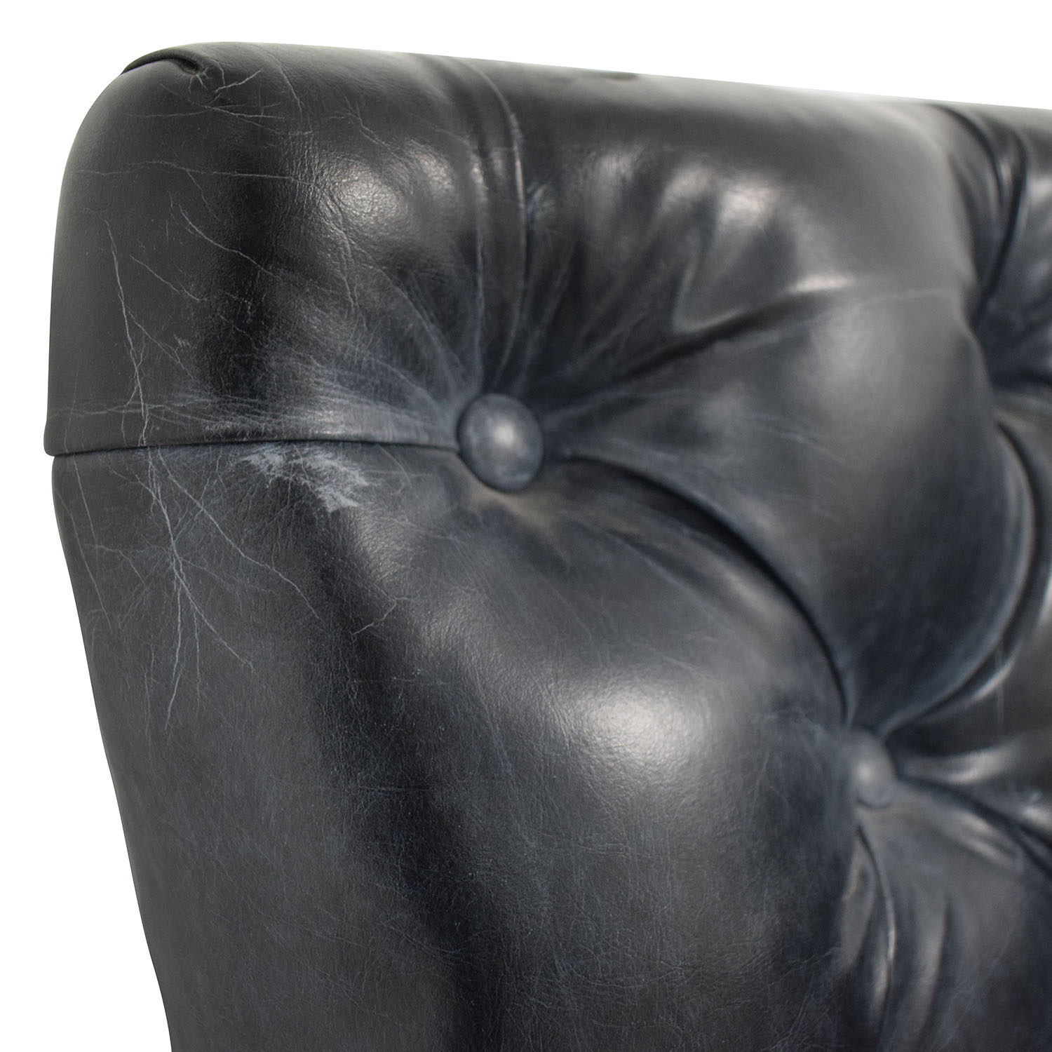 Black Tufted L-Shaped High Sofa for sale