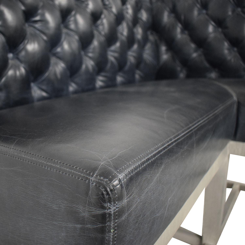 Black Tufted L-Shaped High Sofa nyc