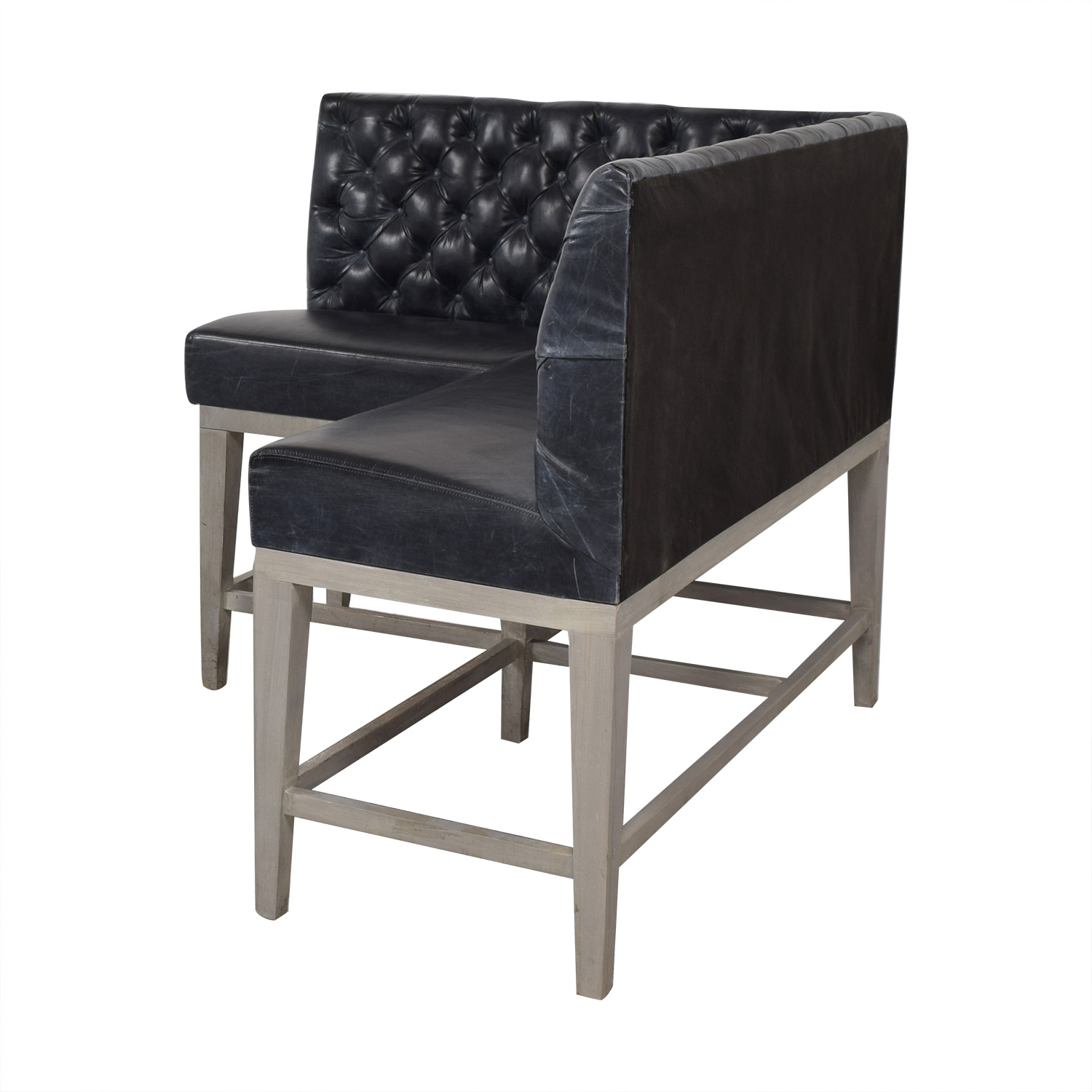 Black Tufted L-Shaped High Sofa second hand