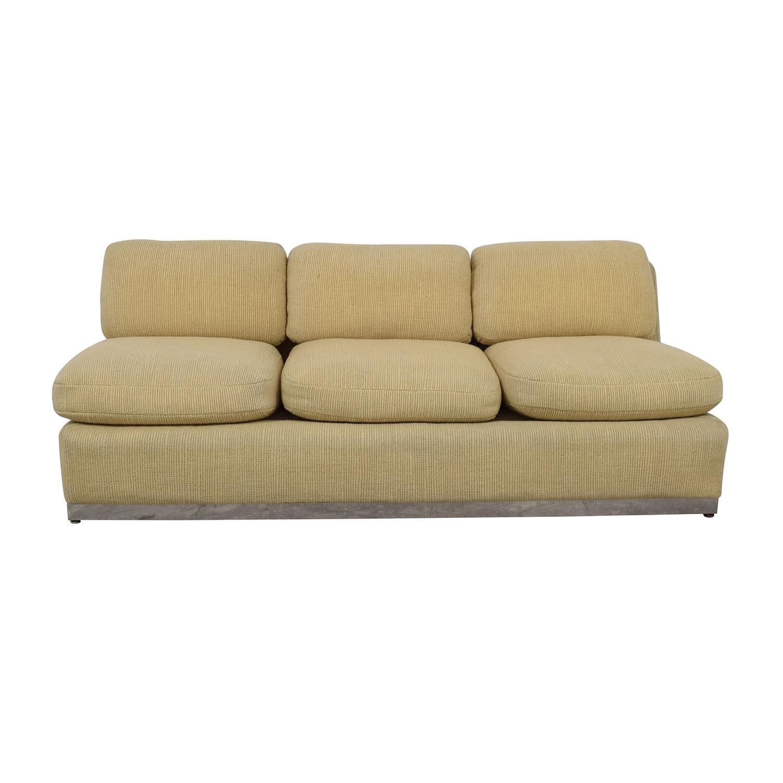 Off White Armless Three Cushion Couch nj