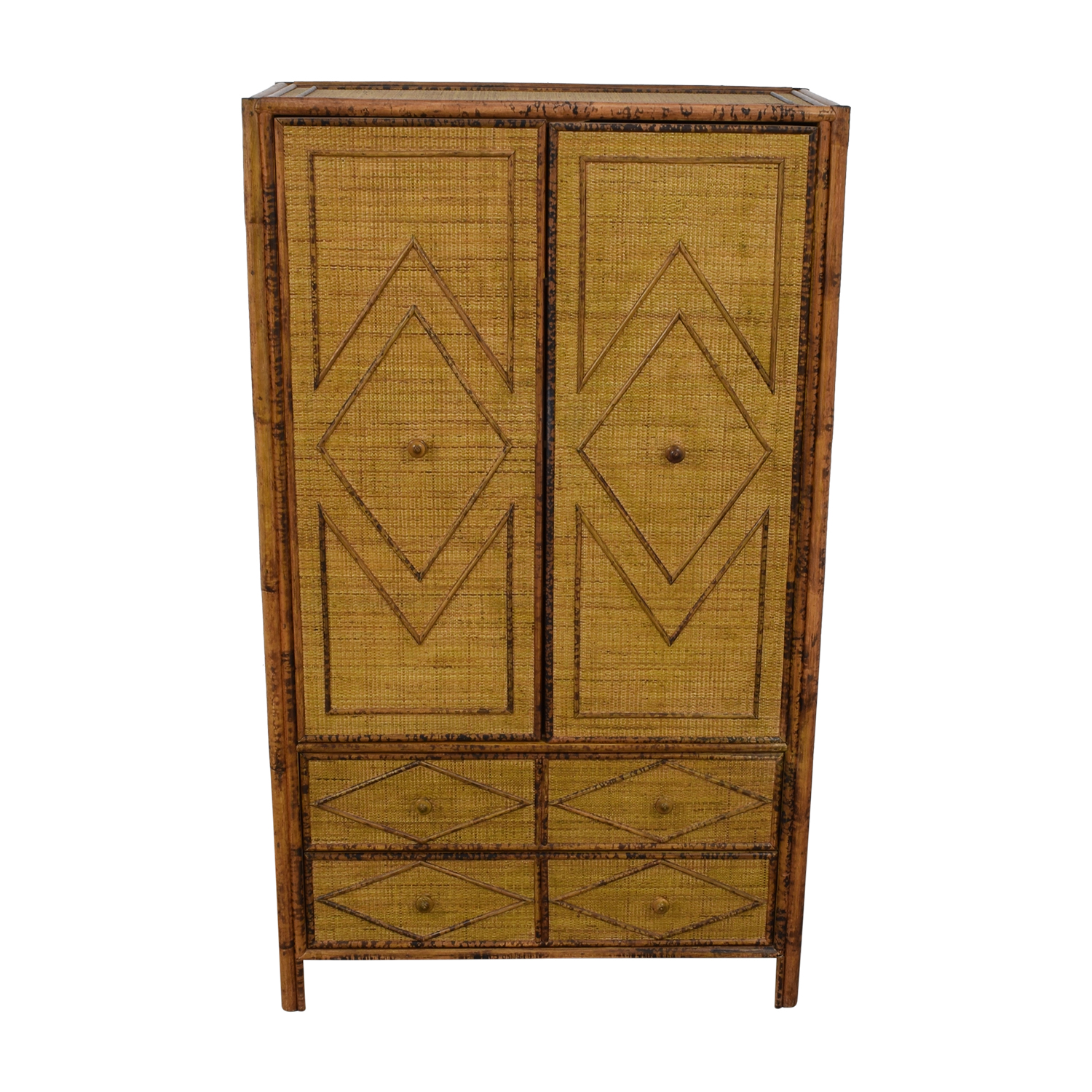 Wicker Four-Drawer Armoire used