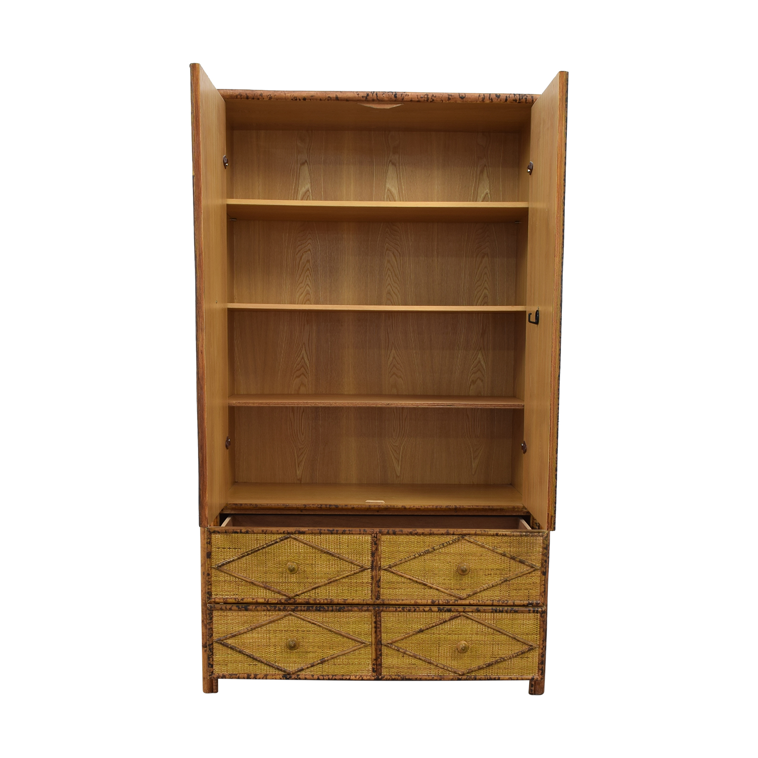 Wicker Four-Drawer Armoire brown