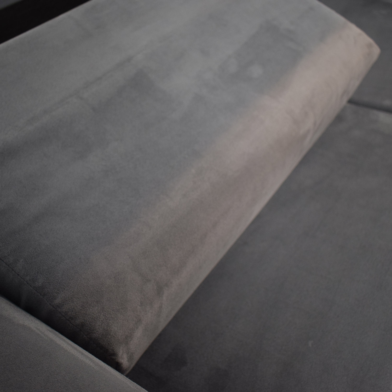 shop Charcoal Micro Suede Three-Cushion Sofa Bed