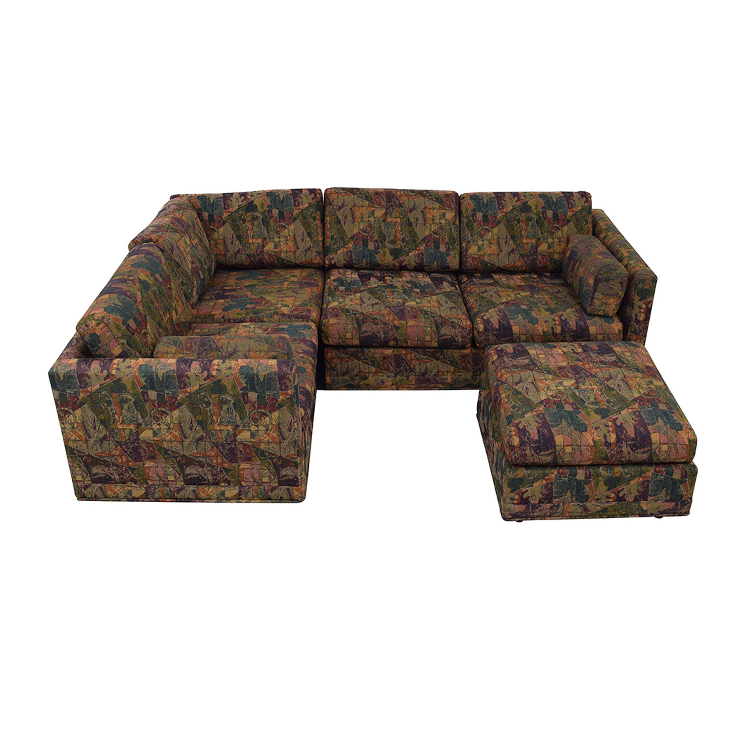 Multi-Colored Sectional With Ottoman on sale