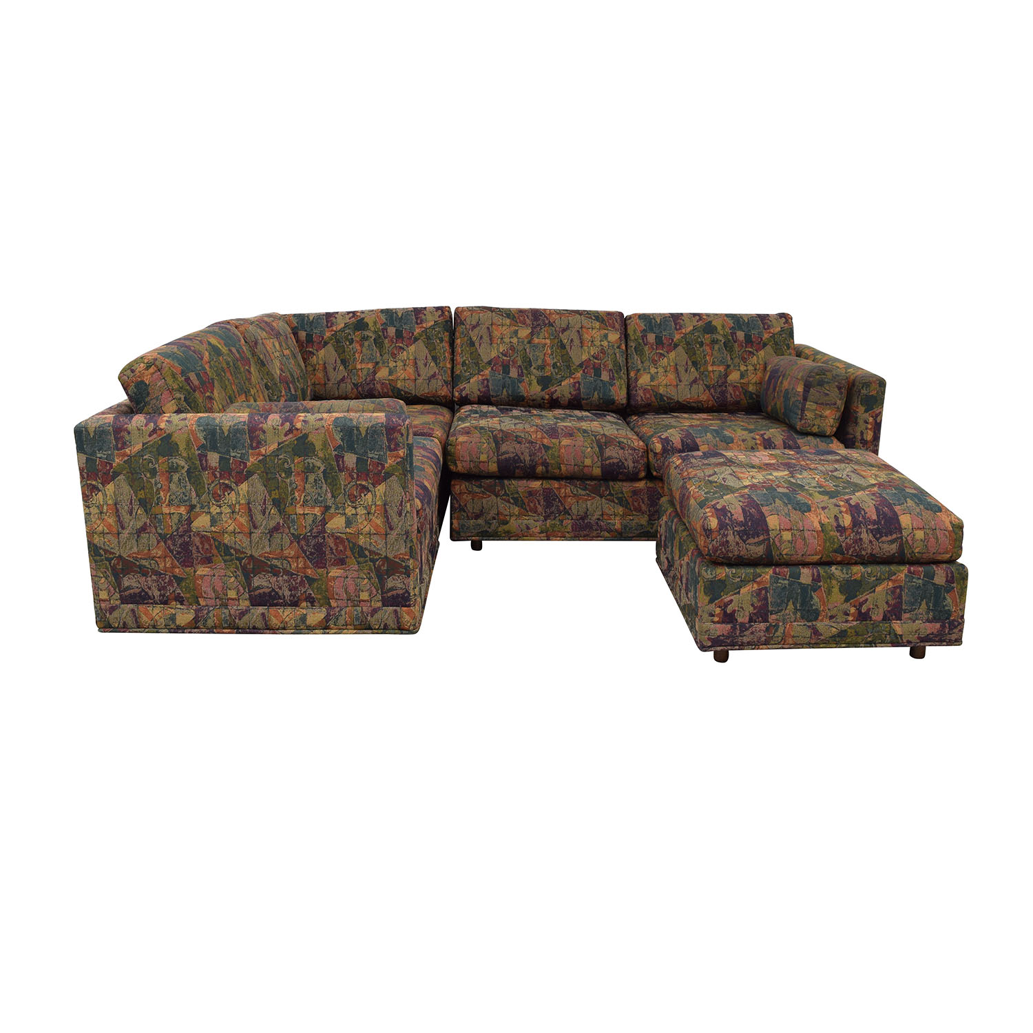 Multi-Colored Sectional With Ottoman / Sofas