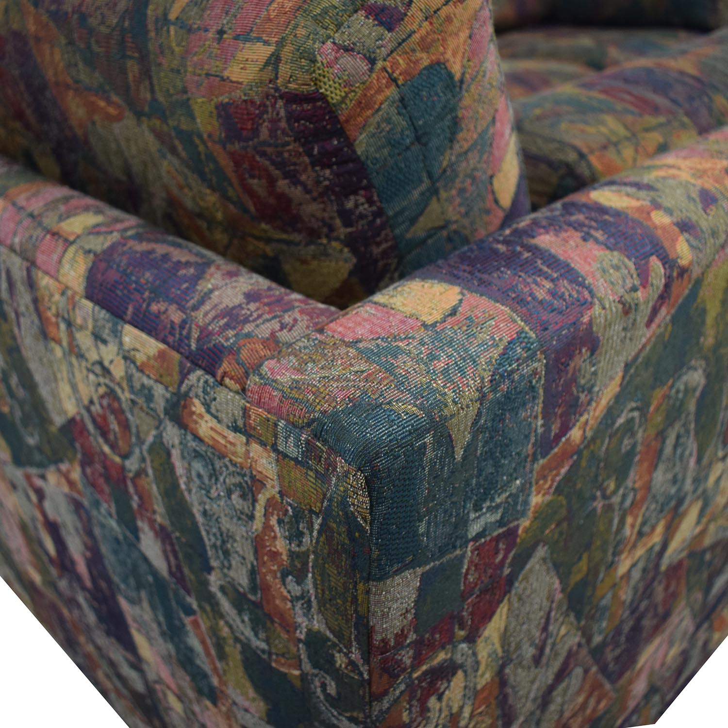 Multi-Colored Sectional With Ottoman used