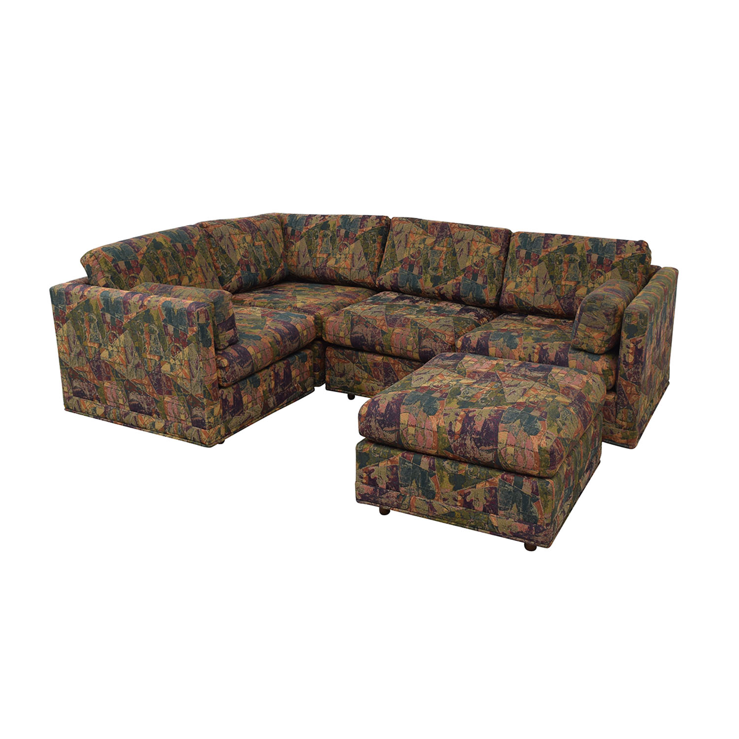 Multi-Colored Sectional With Ottoman price