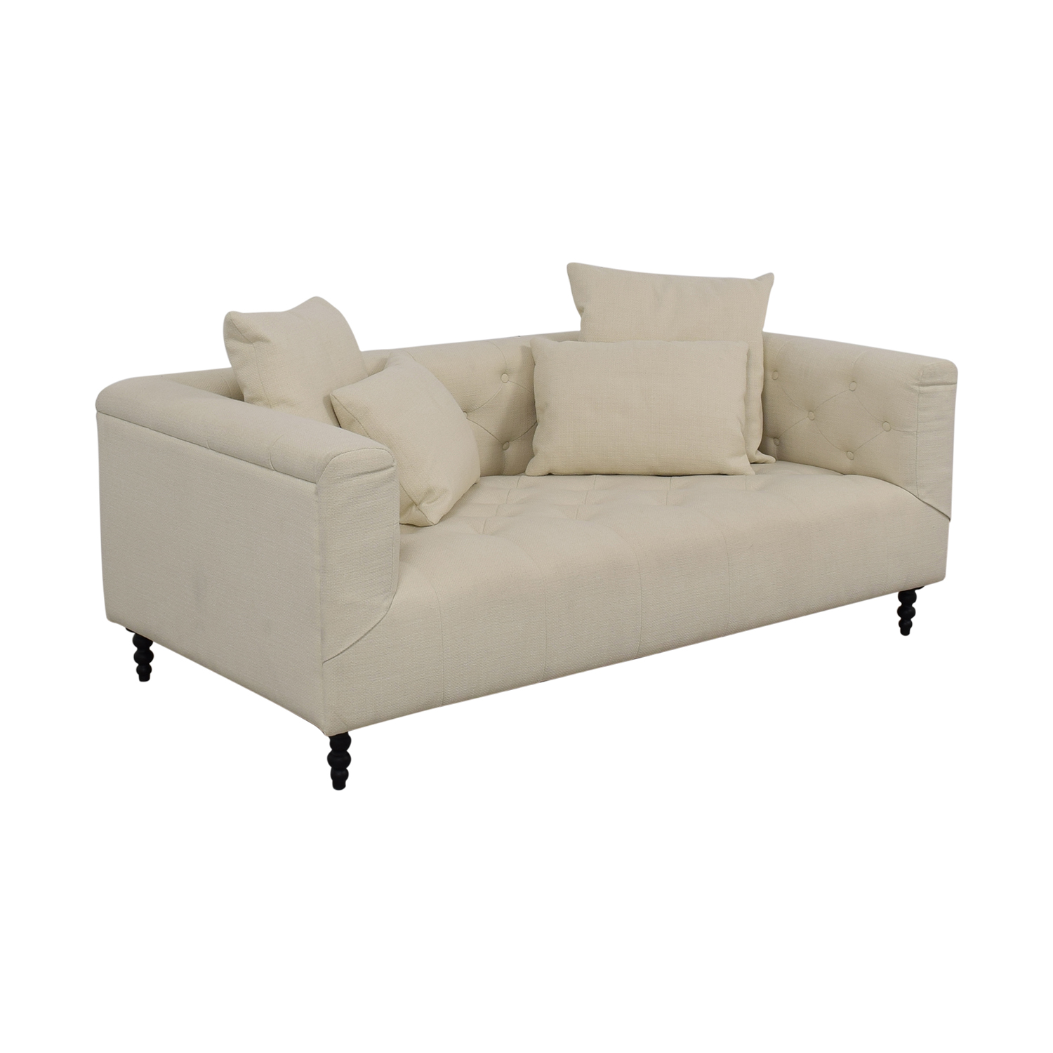 Interior Define Ms. Chesterfield Vanilla Tufted Single Cushion Sofa vanilla