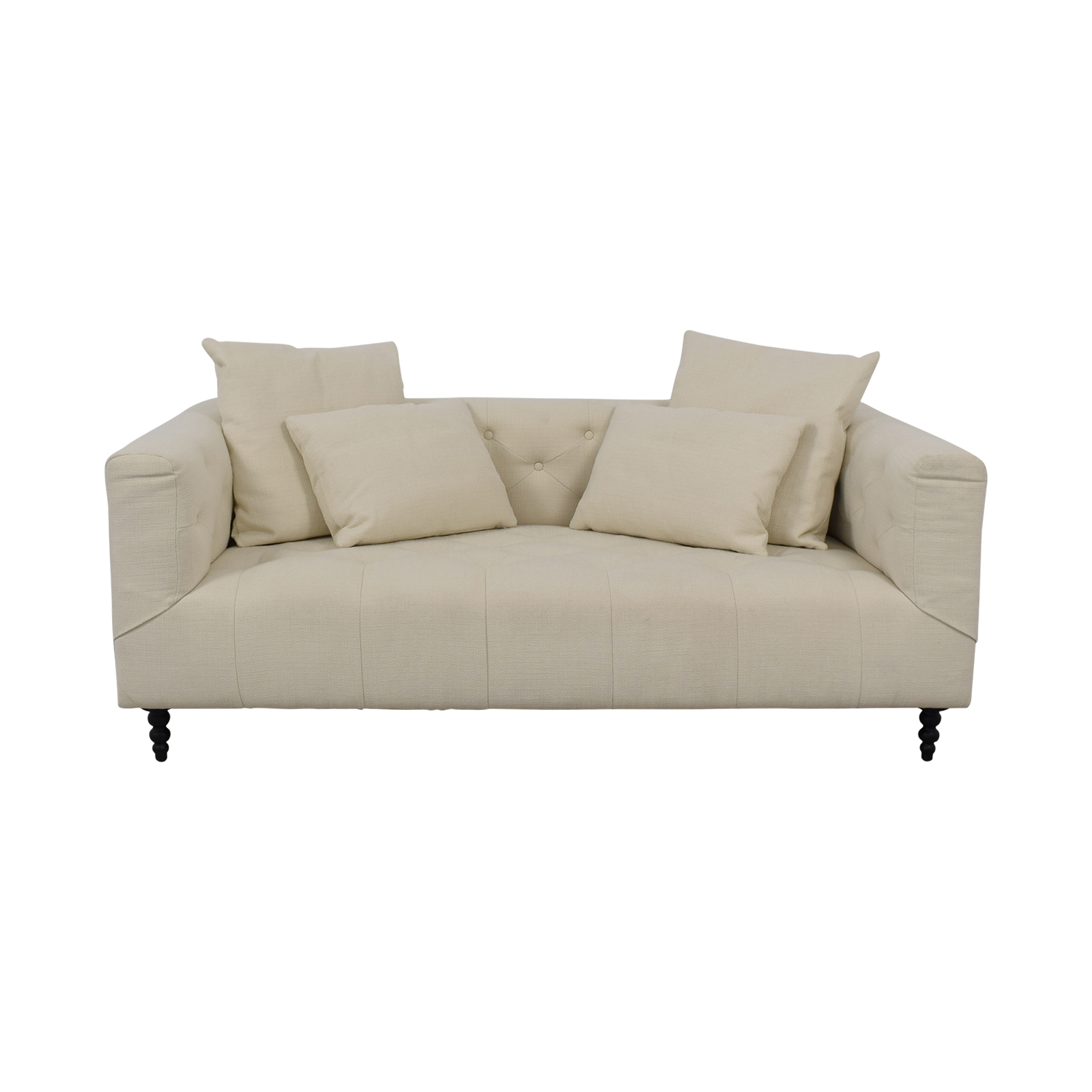 Interior Define Ms. Chesterfield Vanilla Tufted Single Cushion Sofa nj