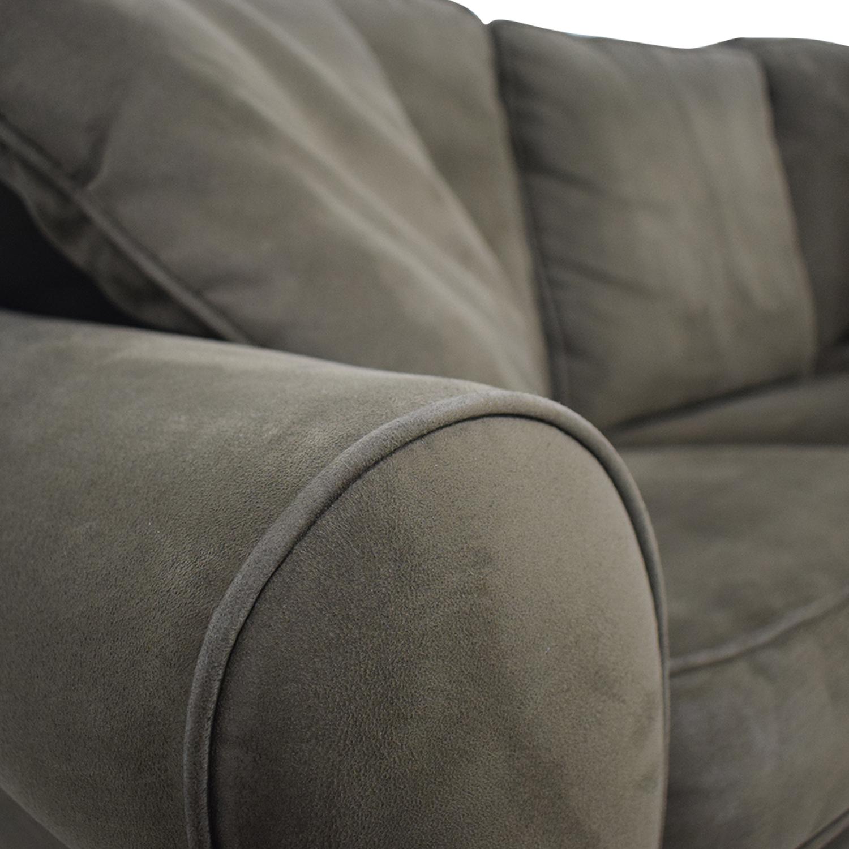 shop Raymour & Flanigan Brown Microfiber Convertible Three-Cushion Sofa Raymour & Flanigan Sofas
