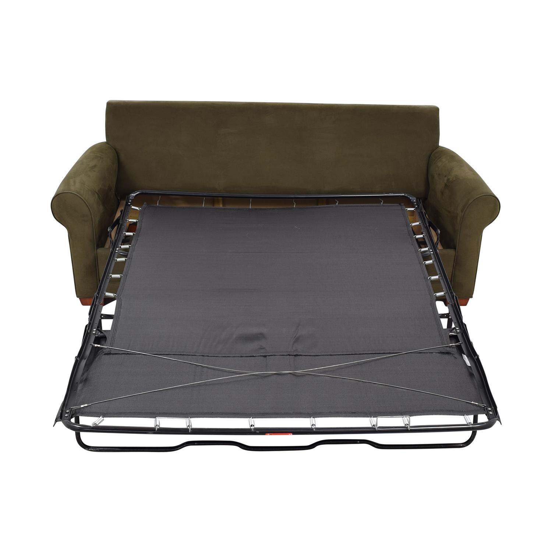 Raymour & Flanigan Raymour & Flanigan Brown Microfiber Convertible Three-Cushion Sofa Sofas