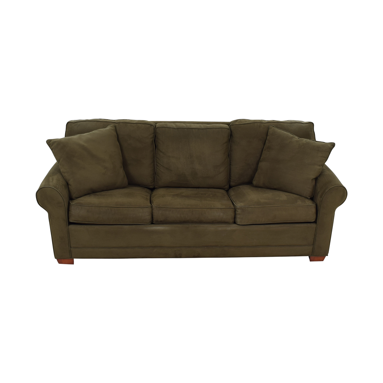 buy Raymour & Flanigan Brown Microfiber Convertible Three-Cushion Sofa Raymour & Flanigan Sofa Beds