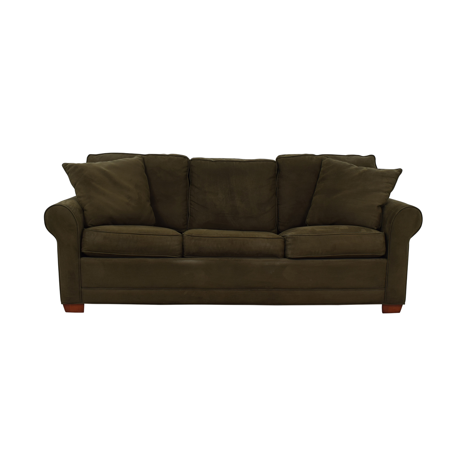 shop Raymour & Flanigan Raymour & Flanigan Brown Microfiber Convertible Three-Cushion Sofa online
