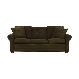 Raymour & Flanigan Raymour & Flanigan Brown Microfiber Convertible Three-Cushion Sofa second hand