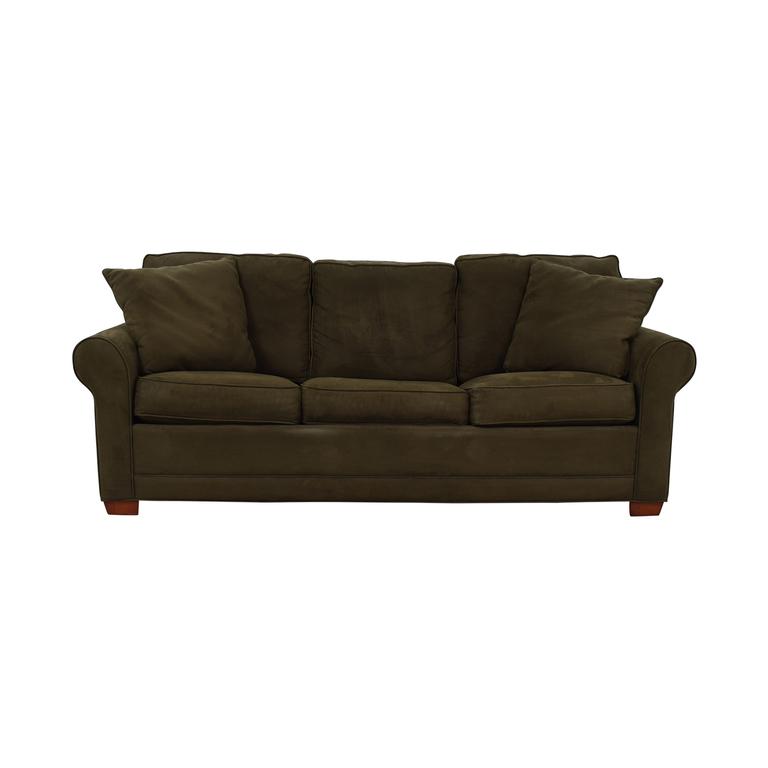 Raymour & Flanigan Raymour & Flanigan Brown Microfiber Convertible Three-Cushion Sofa nj