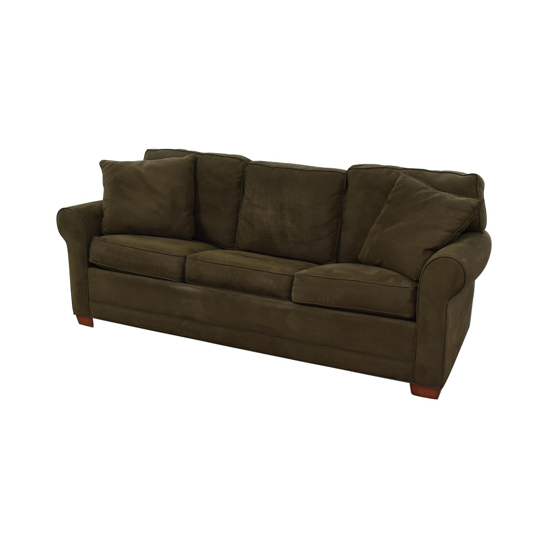 shop Raymour & Flanigan Brown Microfiber Convertible Three-Cushion Sofa Raymour & Flanigan Sofa Beds