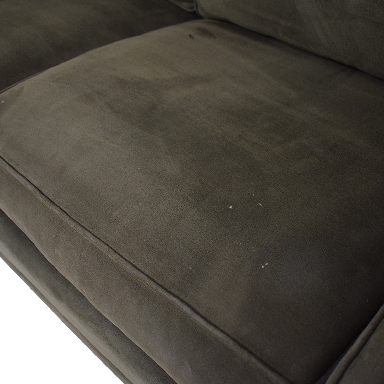 Raymour & Flanigan Brown Microfiber Convertible Three-Cushion Sofa sale