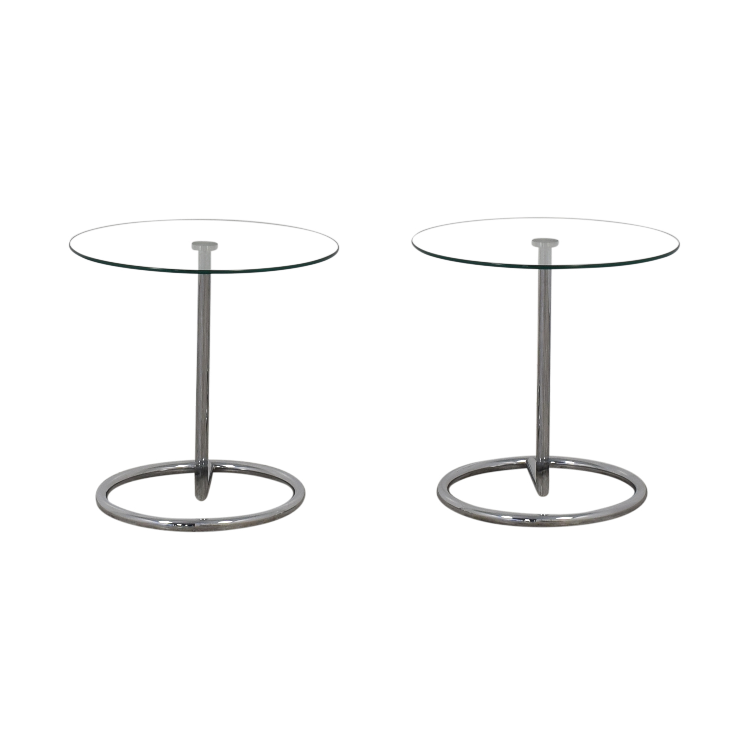 CB2 Round Glass Cocktail Tables / End Tables