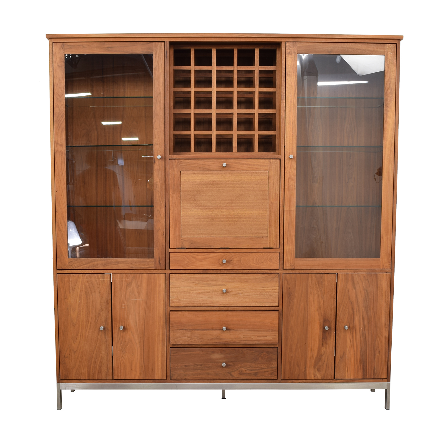 Room & Board Room & Board Walnut Wine Display Cabinet Storage
