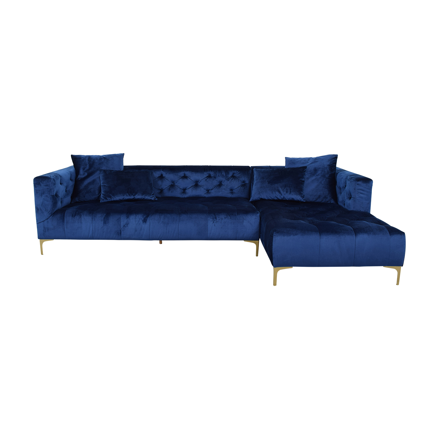 58% OFF - Ms. Chesterfield Mod Velvet Oxford Blue Sectional / Sofas