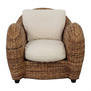Wicker Armchair with White Cushions nj