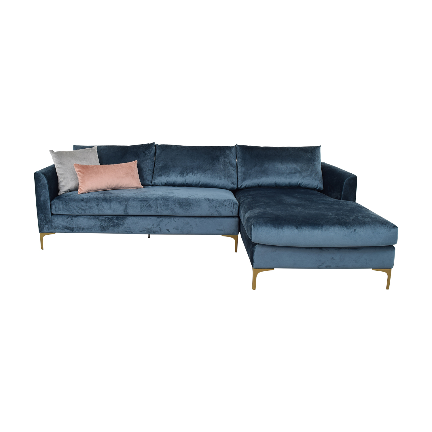 Interior Define Owens Sapphire Velvet Right Arm Sectional for sale