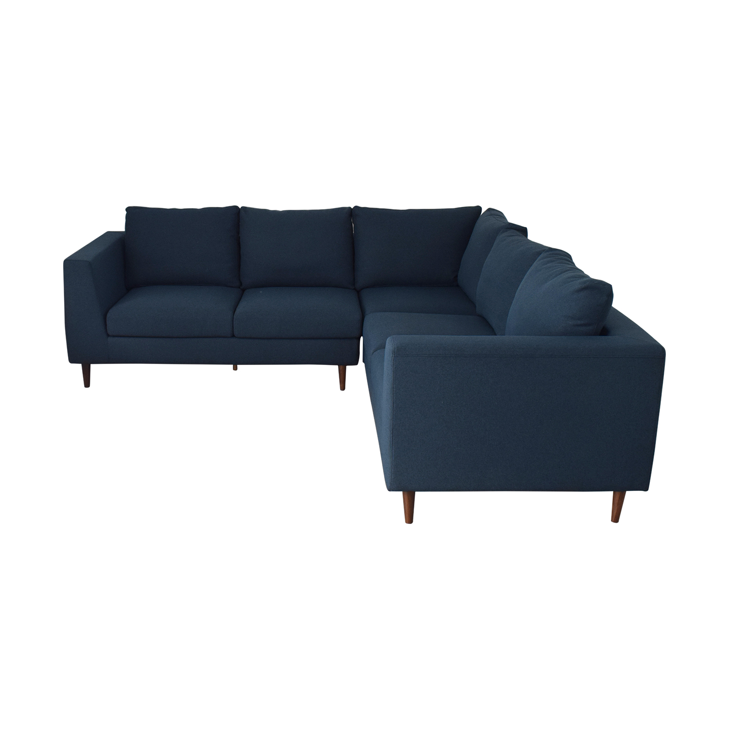 shop Asher Aegean Blue Sectional with Down Alternative Cushions Interior Define Sectionals