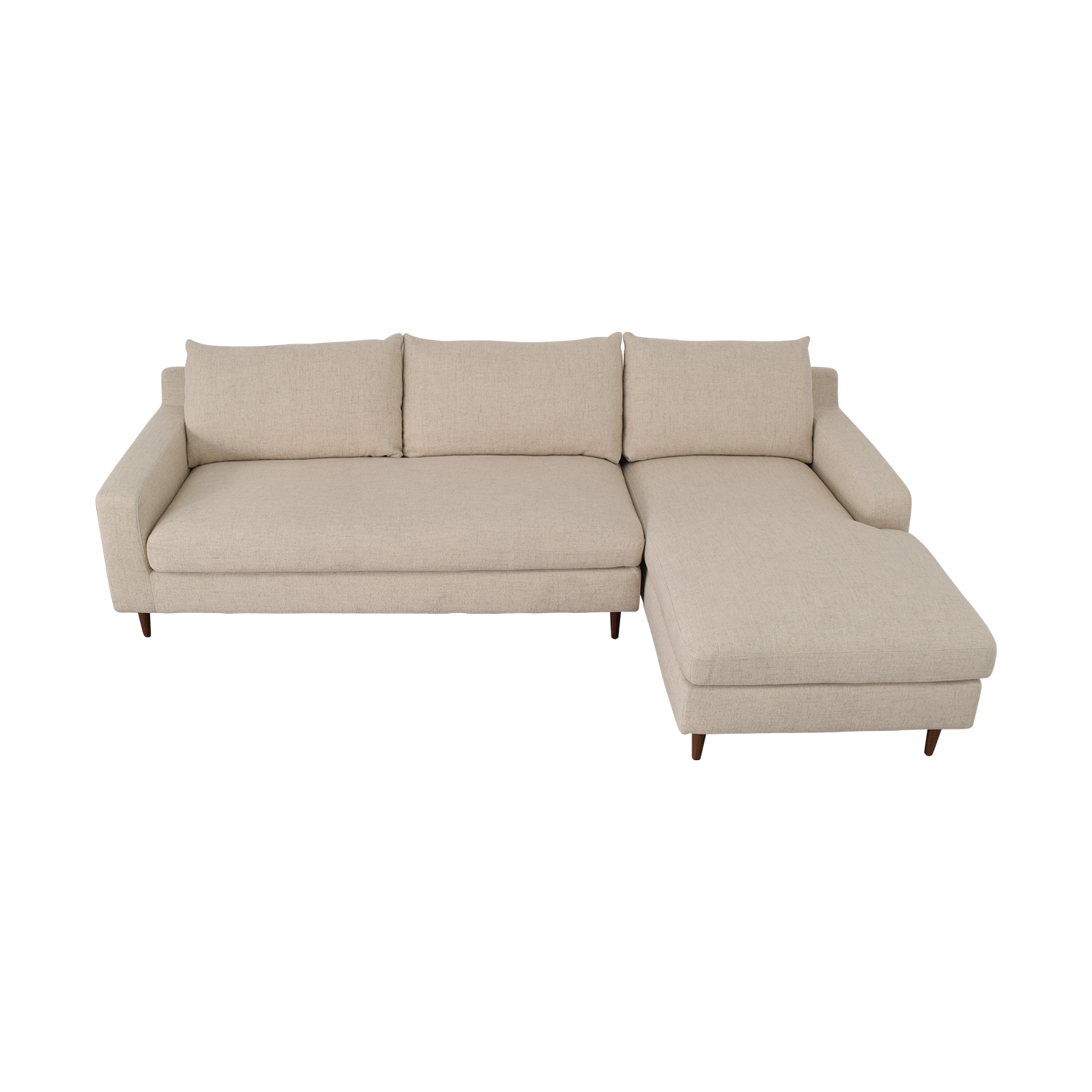 Interior Define Sloan Beige Right Arm Chaise Sectional Beige