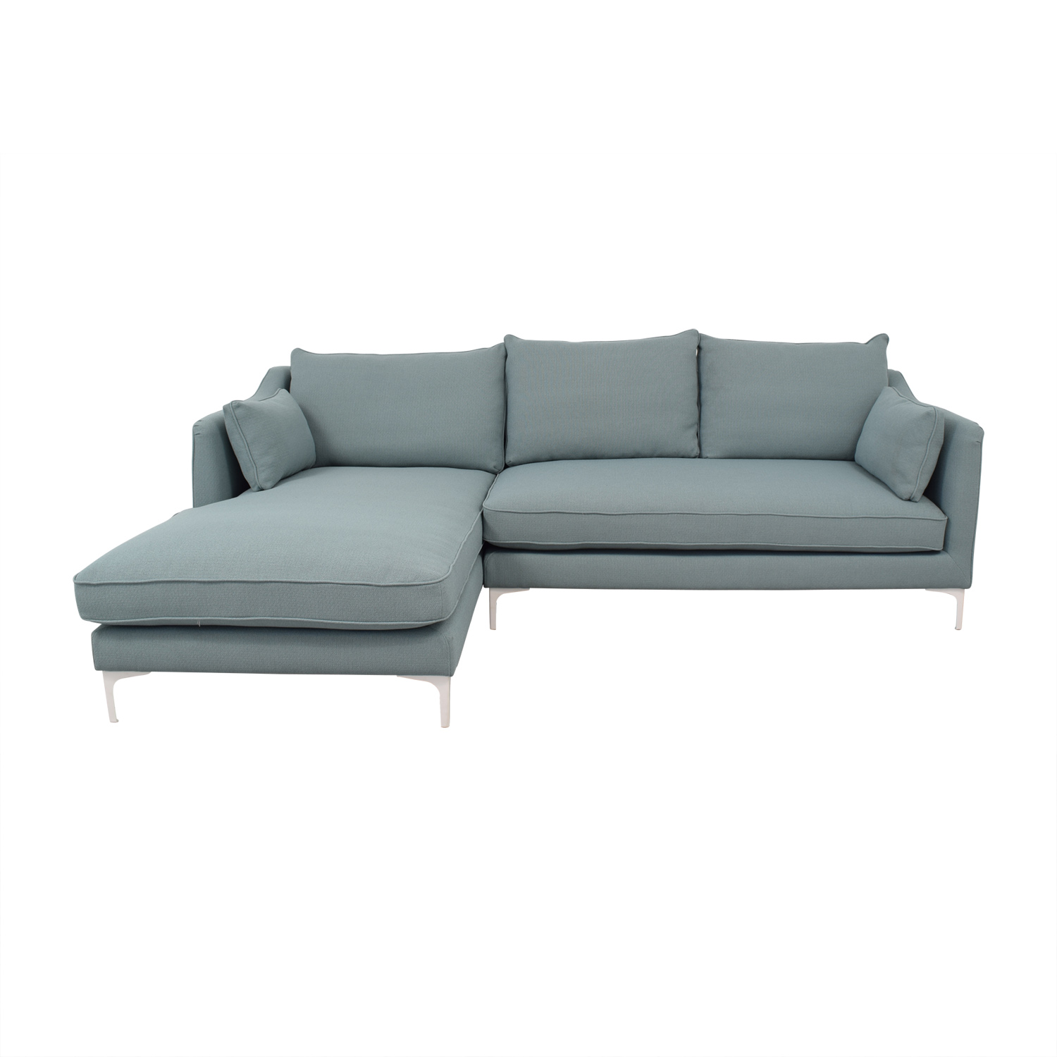 Interior Define Mint Green Caitlin Left Arm Chaise Sectional Sofa Sectionals
