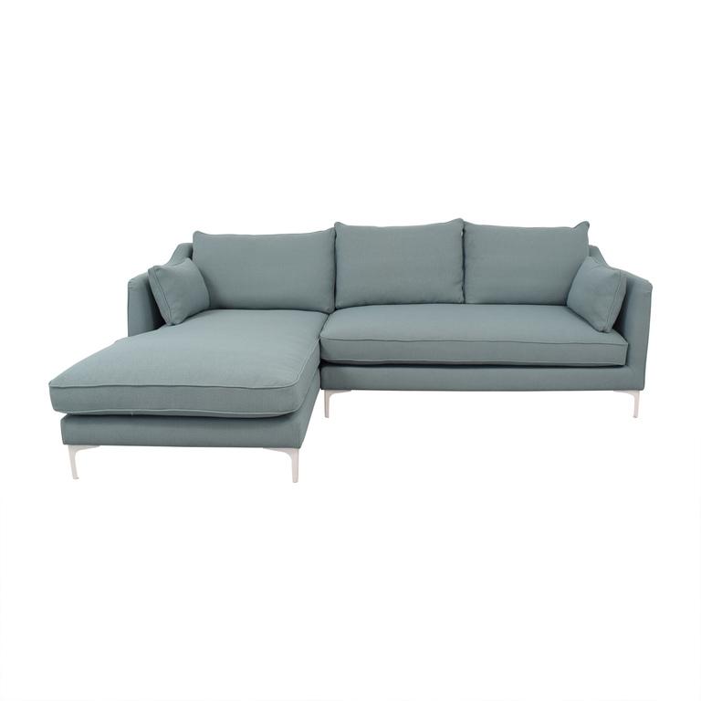 Interior Define Mint Green Caitlin Left Arm Chaise Sectional Sofa nj