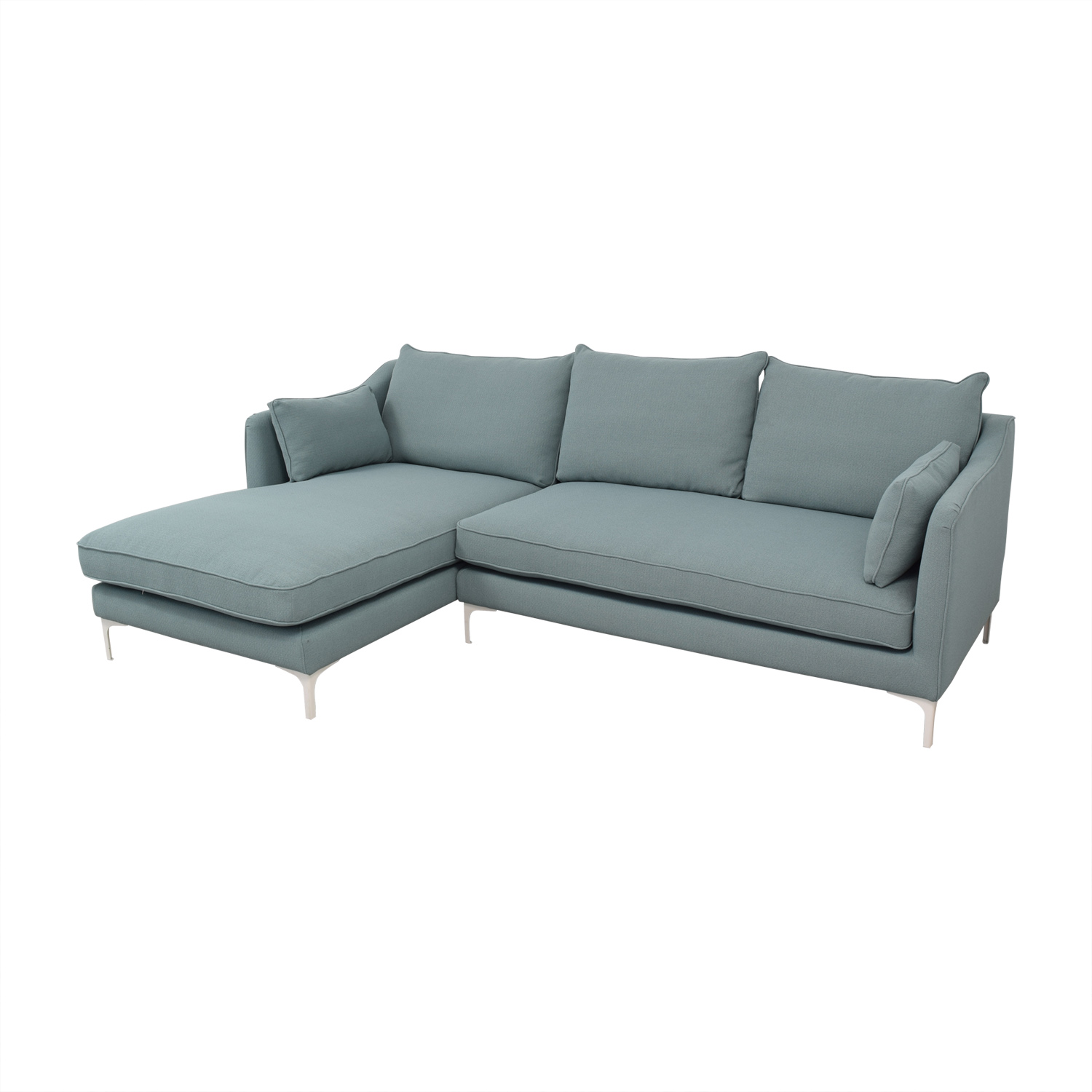72% OFF - Mint Green Caitlin Left Arm Chaise Sectional Sofa / Sofas
