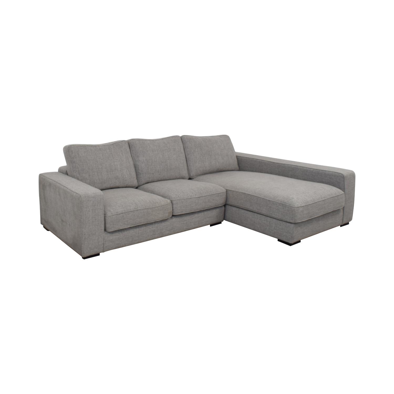 Interior Define Light Gray Ainsley Right Arm Deep Sectional Sofa nj