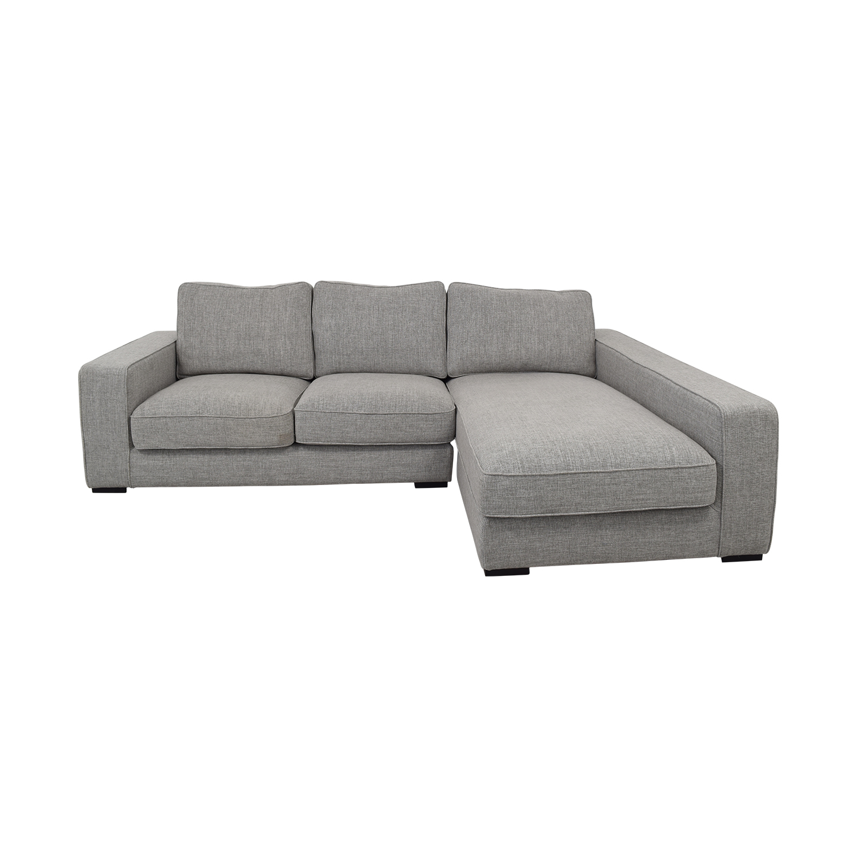 Interior Define Light Gray Ainsley Right Arm Deep Sectional Sofa discount