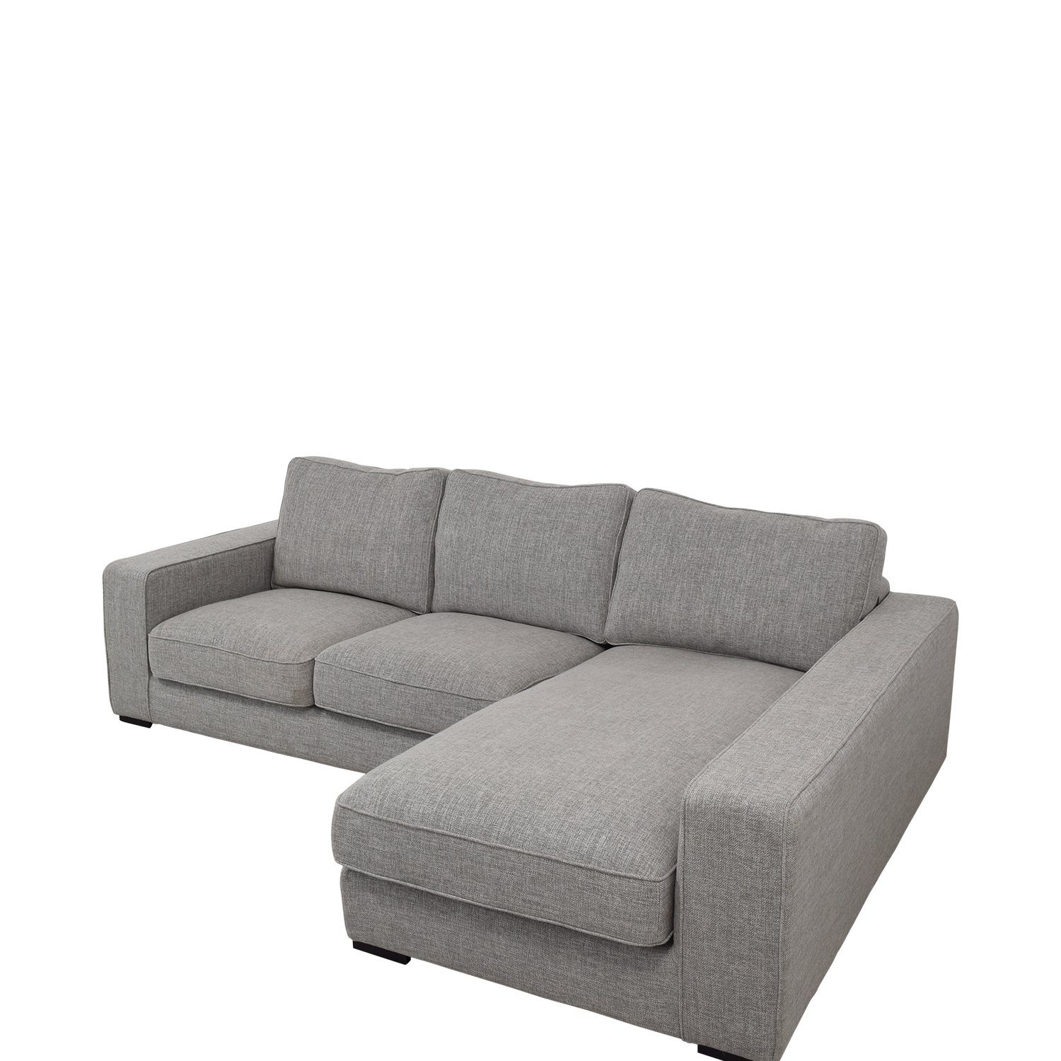 Interior Define Light Gray Ainsley Right Arm Deep Sectional Sofa second hand