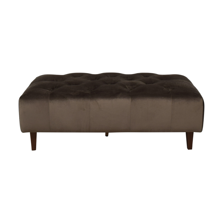 Interior Define Ms. Chesterfield Mod Velvet Quartz Tufted Ottoman nj
