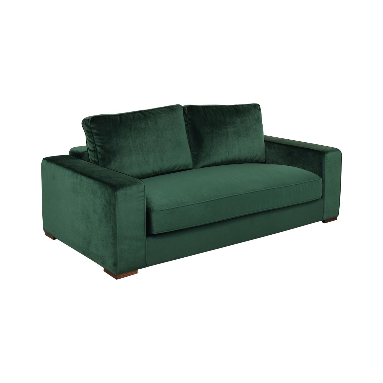 buy Ainsley Emerald Green Velvet Single Cushion Loveseat Interior Define