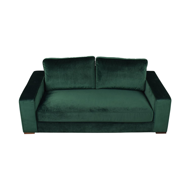 Interior Define Ainsley Emerald Green Velvet Single Cushion Loveseat nj