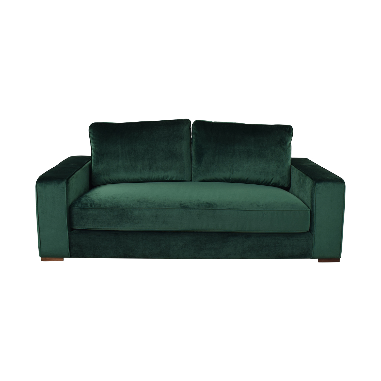 Interior Define Ainsley Emerald Green Velvet Single Cushion Loveseat Sofas