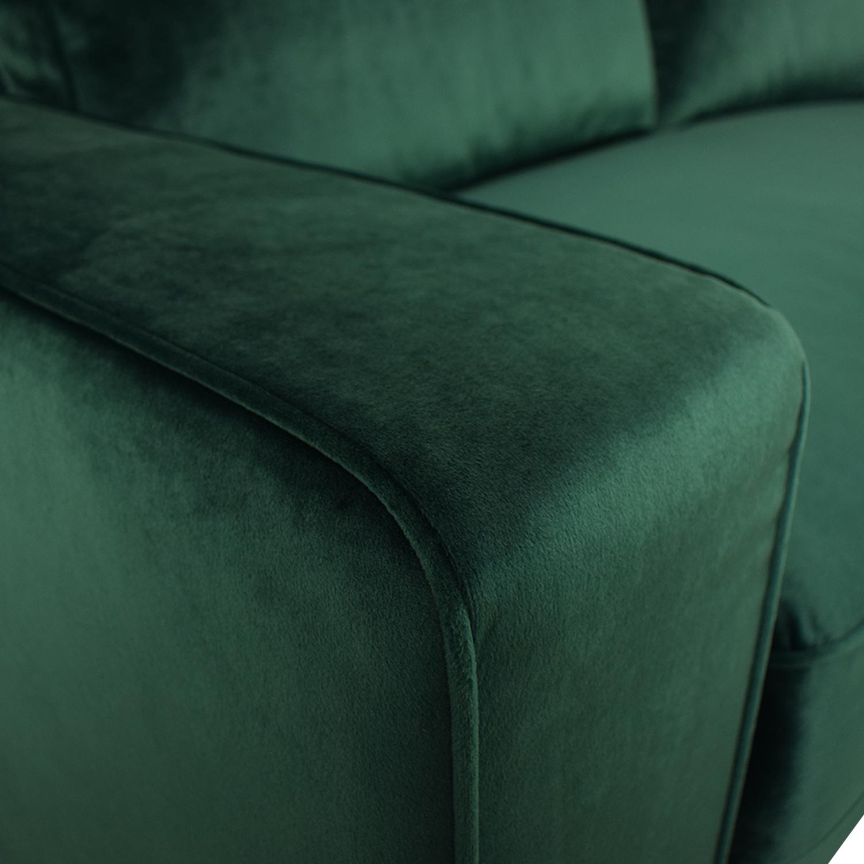 Interior Define Ainsley Emerald Green Velvet Single Cushion Loveseat Loveseats