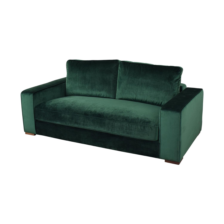 shop Ainsley Emerald Green Velvet Single Cushion Loveseat Interior Define Sofas