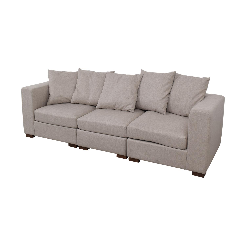 Interior Define Toby Gray Three Cushion Classic Sofa nyc