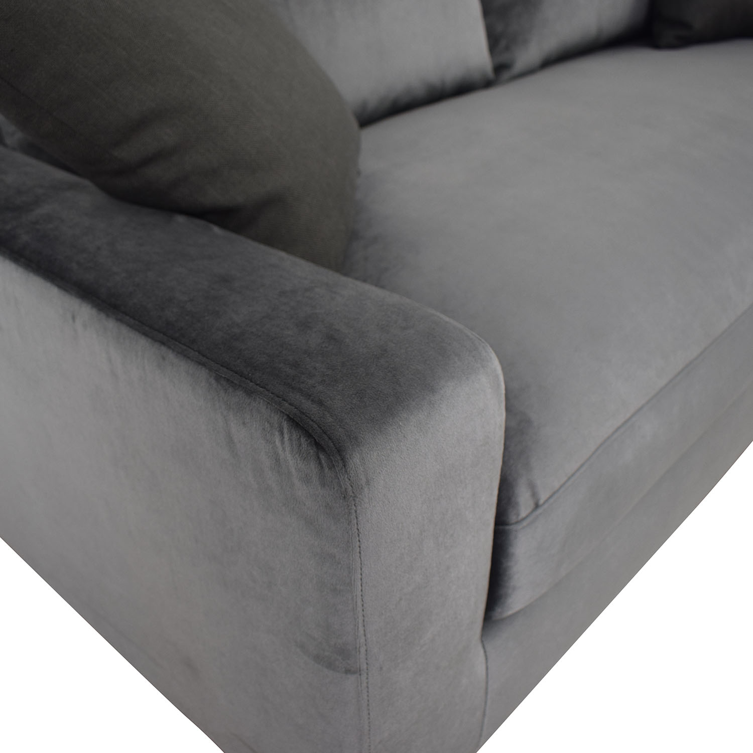 Interior Define Sloan Mod Velvet Narwhal Single Cushion Sofa for sale