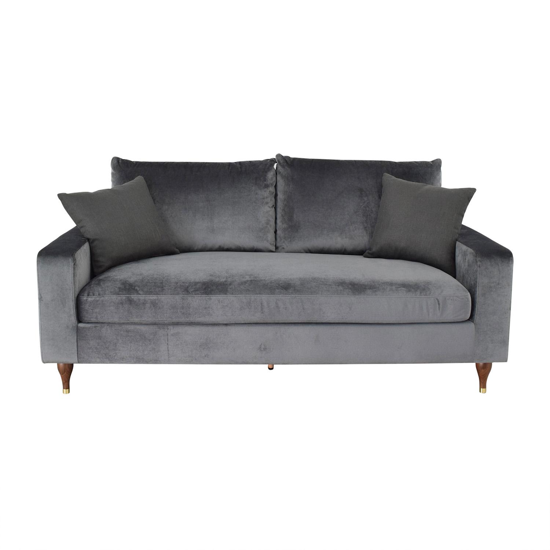 Interior Define Sloan Mod Velvet Narwhal Single Cushion Sofa