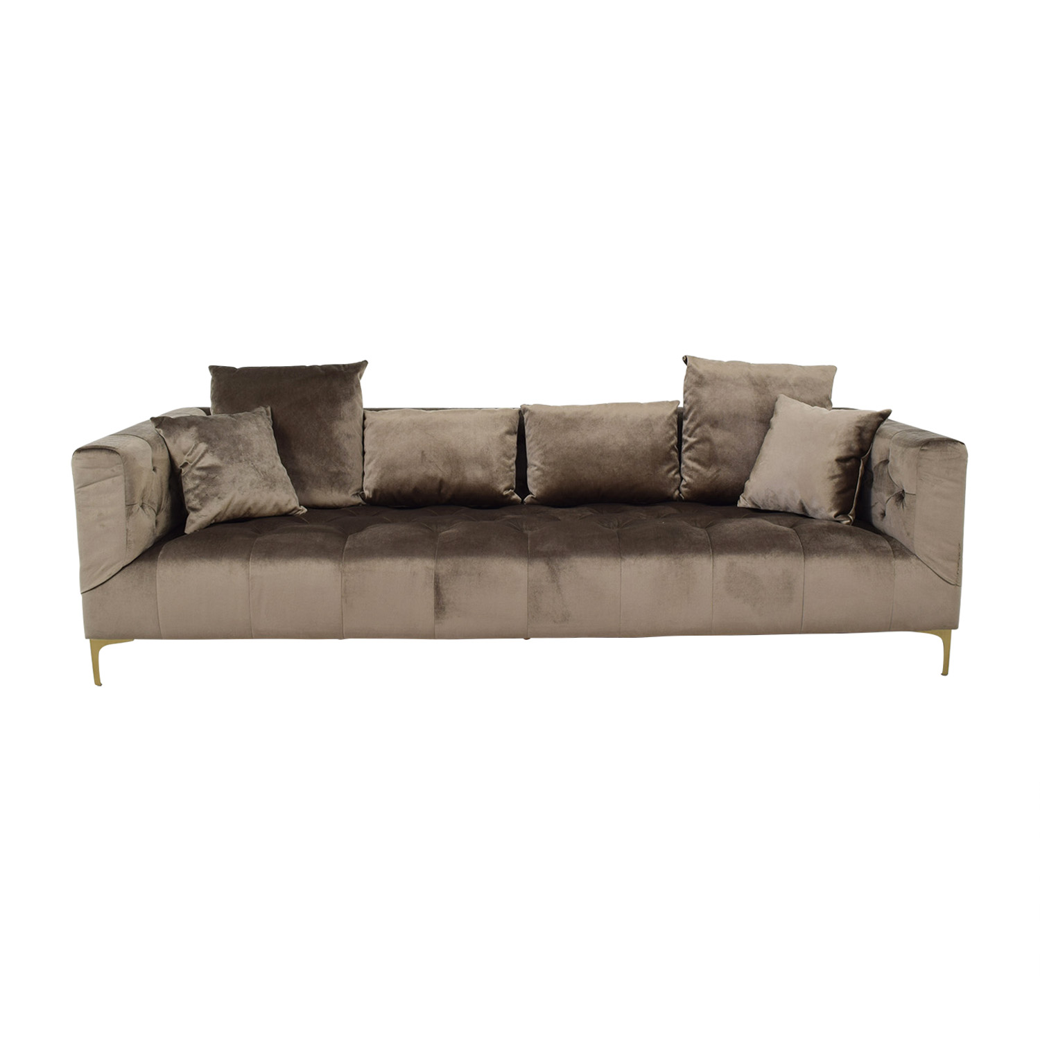 Interior Define Ms. Chesterfield Light Brown Tufted Sofa for sale
