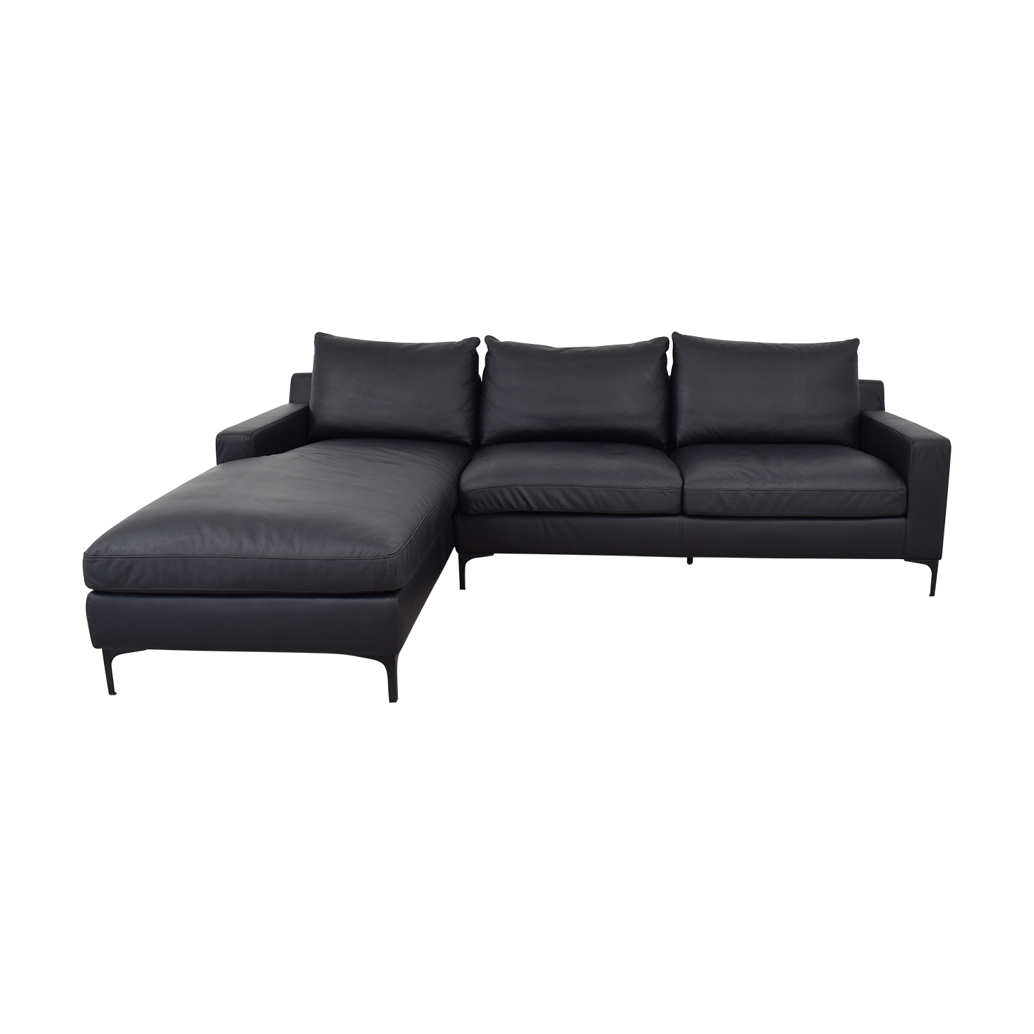 Sloan Leather Night Left Chaise Sectional / Sofas