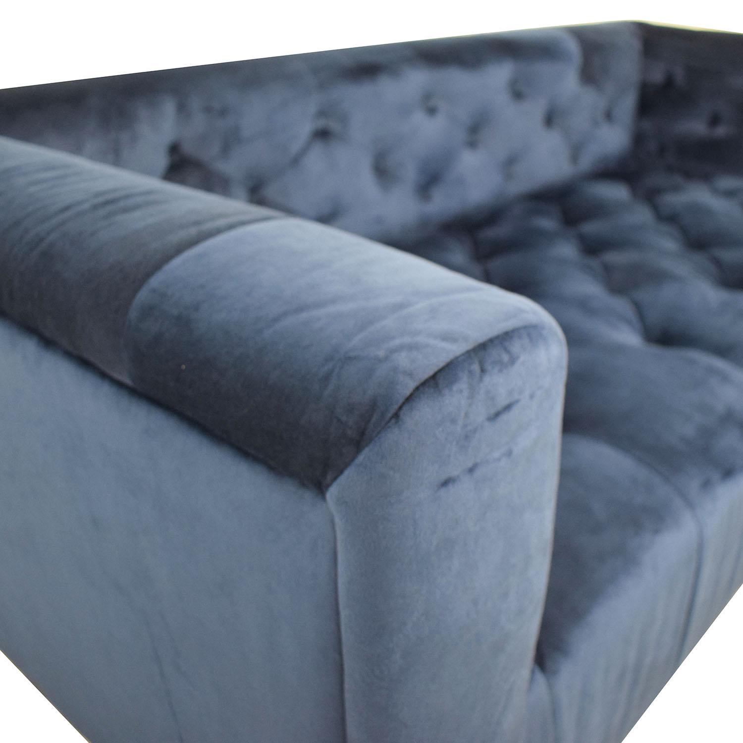 Interior Define Ms. Chesterfield Velvet Oxford Blue Tufted Sofa nyc