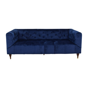 Interior Define Ms. Chesterfield Velvet Oxford Blue Tufted Sofa second hand
