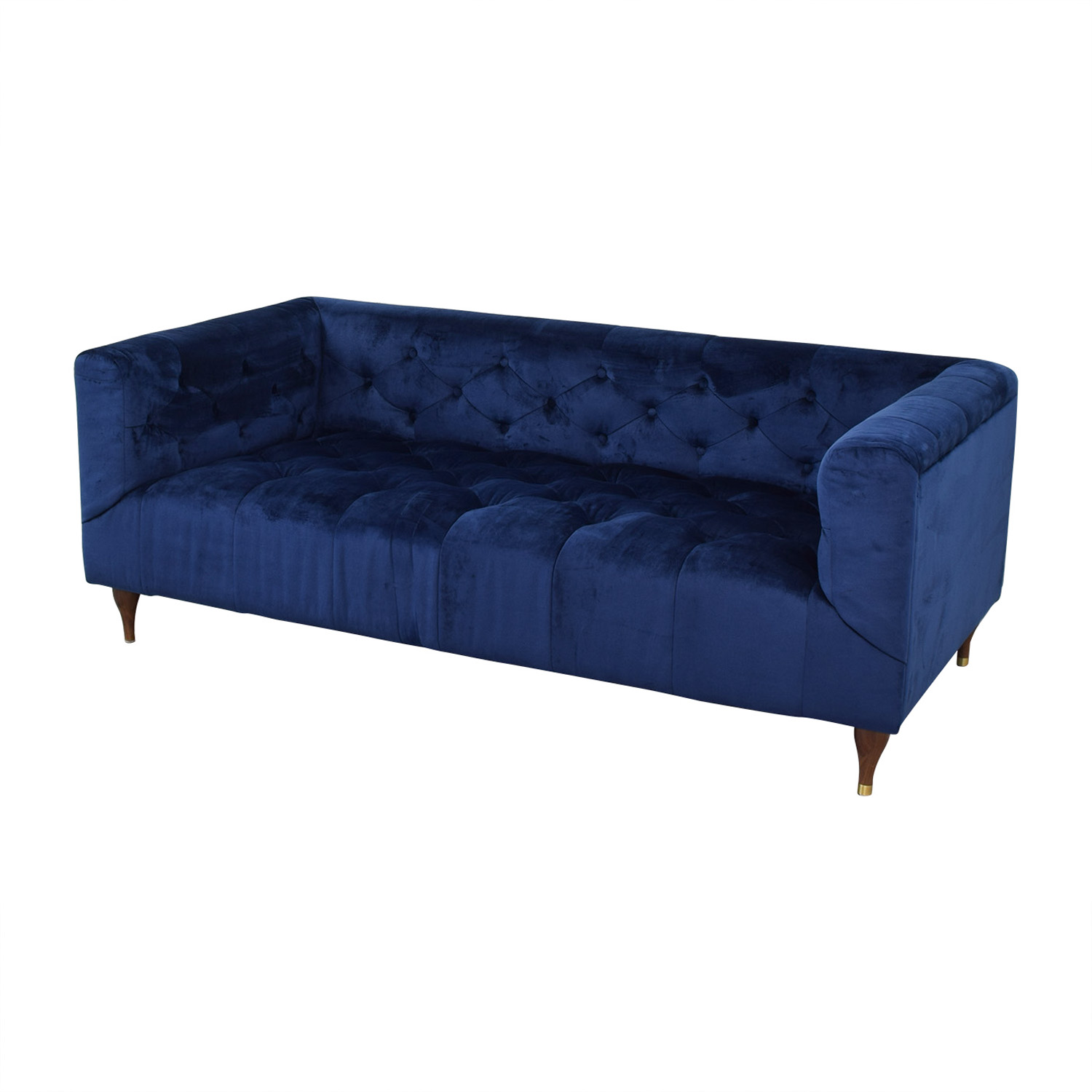 Interior Define Ms. Chesterfield Velvet Oxford Blue Tufted Sofa dimensions