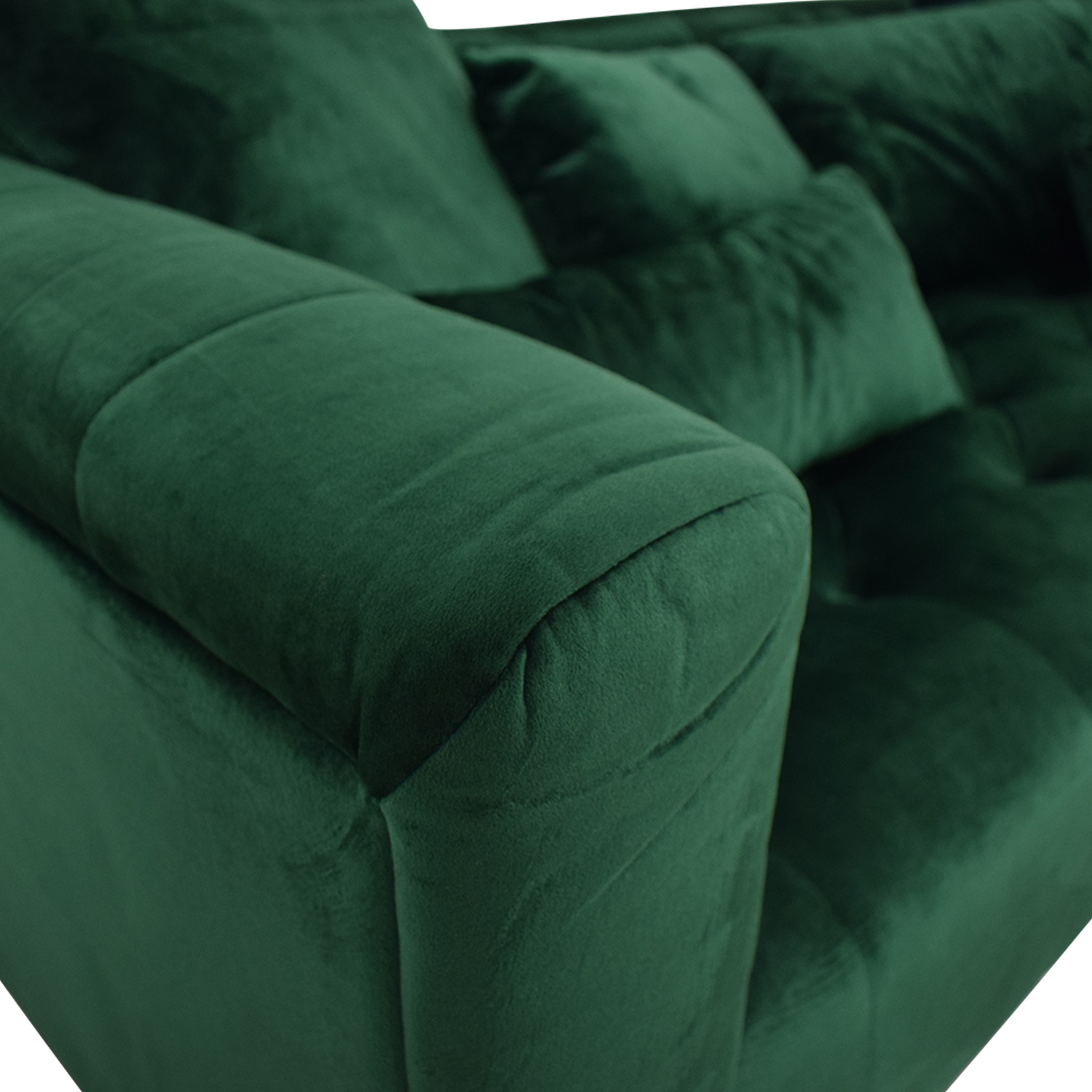 Interior Define Ms. Chesterfield Green Tufted Sofa for sale